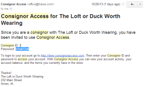 Example of email for consignor access